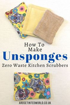 How To Make Unsponges - Zero Waste Dish Scrubbers ⋆ A Rose Tinted World - How To Make Unsponges – Make your own kitchen sponges – a great alternative to plastic bacteria - Cotton Quilting Fabric, Fabric Scraps, Recycled Kitchen, Skull Fabric, Kitchen Sponge, Easy Sewing Projects, Sewing Tutorials, Sewing Ideas, Recycling Projects