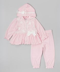 Light Pink & White Velour Hoodie & Pants - Infant
