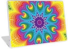 Retro Psychedelic Rainbow Dots Mandala | Design available for PC Laptop, MacBook Air, MacBook Pro, & MacBook Retina
