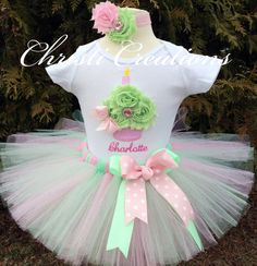 Baby Girl First Birthday Tutu Outfit--Pink and Mint Green--3D Cupcake--Baby Girl 1st Birthday Tutu Set--Photo Prop on Etsy, $62.00