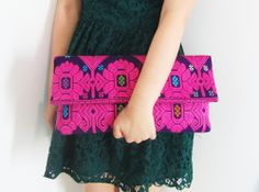 Ikat Weave Fold Over Clutch in Neon Pink and Dark Blue