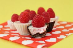 These Raspberry Panna Cotta Cups are a delicious bite-sized dessert for Valentine's Day.