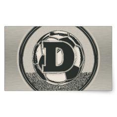 Silver Medal Soccer Monogram Letter D Rectangle Stickers