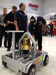 Hendrick Motorsports tradition! When we win a NASCAR Sprint Cup Series race, every employee rings the Victory Bell. Two rings today -- one for Kasey Kahne's Charlotte Motor Speedway win on May 27 and one for Jimmie Johnson's Dover International Speedway victory on June 3.