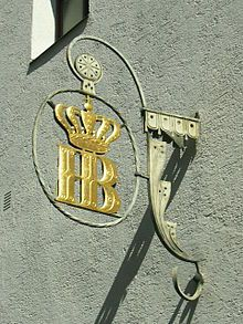 Logo of the brewery seen from Bräuhausstraße