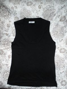 BLACK TANK TOP STYLE WHITE COMPANY UK 14 SILK CASHMERE MIX