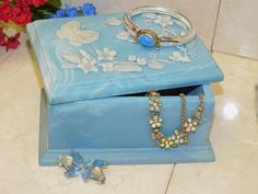 Large & Lovely Blue Incolay Carved Jewelry Box with Butterflies and Flowers ~ 1974 Carved Stone Jewel Casket Storage Bedroom Bathroom Home by EclecticJewells on Etsy