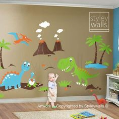 Dino Dinosaurs Land HUGE Set Nursery Kids Playroom Vinyl Wall ...