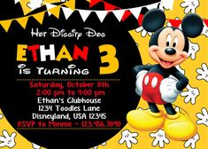 Super cute Disneys Mickey Mouse Birthday Party Invitation  This listing is for a 7 x 5, personalized, printable, 300 dpi high resolution invitation in a digital file delivered via email. No printed items will be shipped to you. Use your personalized invitation to print from home, email to friends and family or send to a local or online photo lab or print shop. Font style or format changes and/or adding your photo(s) will require an additional charge. Please contact The Glittered Pixel pr...