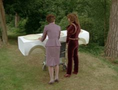 """Tegan: Tegan Jovanka - """"I'm going to have to wear my uniform for how many years?"""" and Nyssa - """"This is actually the practical version of my crushed velvet outfit..."""""""