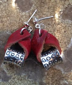 Made by my friend, Stacey Tuohy! Red Leather earring with silver tone bead by 2E3Design on Etsy, $20.00