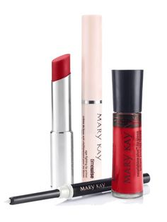 Long live the perfect red lip! It's the ultimate accessory for a gorgeous holiday look. Www.marykay.com/jeaninemredman Set includes:  Mary Kay® True Dimensions™ Lipstick in Firecracker TimeWise® Age-Fighting Lip Primer Mary Kay® NouriShine Plus® Lip Gloss in Rock 'n' Red Mary Kay® Lip Liner in Clear
