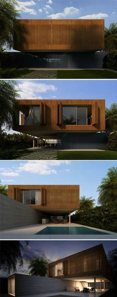 wood panels in this modern home. By Márcio Kogan - Brazilian architect. Blog Architecture, Minimalist Architecture, Residential Architecture, Contemporary Architecture, Amazing Architecture, Facade Design, Exterior Design, Design Design, Creative Design