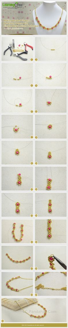 Making Beaded Flowers Necklace Pattern with ... | Jewelry Making Tuto�� by wanting super easy