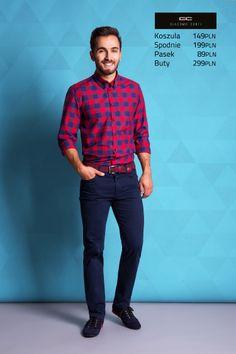 Stylizacja casualowa Giacomo Conti: koszula w granatowo-czerwoną kratę Biagio slim 14/02/56, granatowe spodnie Augusto 13/32 S. #giacomoconti