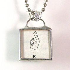 American Sign Language Initial R Pendant $20