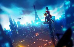 Chat Noir and Ladybug looking over the cityscape (by sushi-master901, Miraculous Ladybug)