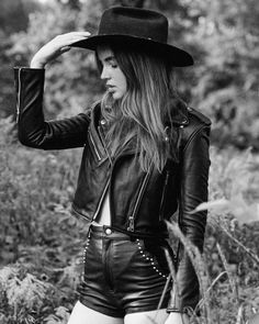 """UNDERSTATED LEATHER LTD. on Instagram: """"Cowboys make better lovers💘 oh & the Mercy Jacket has been restocked."""" Ali Michael, Riders Jacket, Motorcycle Jacket, Easy Rider, Romper Pants, Blouse Outfit, Leather Design, Tank Top Shirt, Cool Things To Make"""