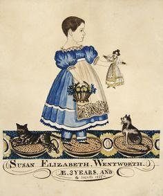 Susan Elizabeth Wentworth at 3 years 6 months (1835) by unattributed artist (American Folk Paintings)