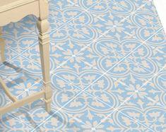 Vinyl Floor Tile Sticker - Floor decals - Carreaux Ciment Encaustic Trefle 2 Tile Sticker Pack in Vista Blue