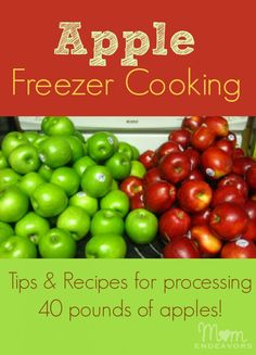 Apple Freezer Cooking - don't have to cook ahead of time - just mix and freeze - 8-10 apples - flour - sugar - cinnamon - nutmeg - lemon juice - freeze for pie filling - you can cut up and freeze just the apples -