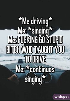 *Me driving* Me: *singing* Me: FUCKING GO STUPID BITCH WHO TAUGHT YOU TO DRIVE Me: *continues singing*