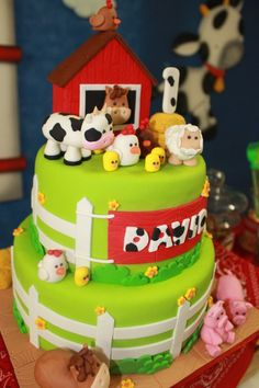 bolsitas para cumpleaños de la granja - Buscar con Google Farm Animal Cakes, Farm Animal Party, Farm Animal Birthday, Barnyard Party, Cowboy Birthday, Farm Birthday, Farm Party, First Birthday Parties, First Birthdays