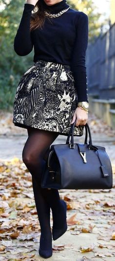 #fall #outfits / turtleneck knit skirt