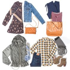Mix and match your clothes for more more combinations! We love laying down the clothes so that we can see how everything looks together. We spy...floral, denim, crossbody purses, army green jacket, fall plaid, tan booties, a carryall tote...and more!
