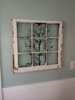 Old Window Pane Art - #crafts #diy