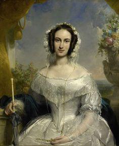 Agatha Petronella Hartsen (1814-78). In bruidstoilet ter gelegenheid van haar…