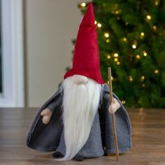 Northlight Gray and Red Standing Big Nose Gnome Holding a Stick Christmas Figurines, Christmas Gnome, Christmas Stuff, Handmade Christmas, Christmas Ideas, Christmas Crafts, Christmas Ornaments, How To Make Wings, Gnome Hat