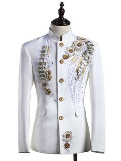 Buy Men's Retro Costume White Rococo Overcoat Flowers Court Uniform Cloth Costume, Cosplay offers the very most-like style of the hero and heroine for your unique Cosplay needs. Wedding Dresses Men Indian, Wedding Dress Men, Blue Wedding Dresses, Blazer Fashion, Mens Fashion Suits, Fashion Outfits, Blue Suit Wedding, Wedding Suits, Outfit