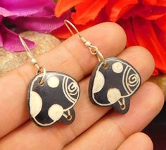 Amazing Black Horn Carving.925 Silver Handmade Earring Jewelry NJ1037 #Handmade