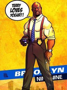 Brooklyn 9 9, Brooklyn Nine Nine, Terry Crews, Art Sketches, Iron Man, Yogurt, Fan Art, Graphics, Superhero