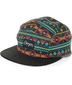 Get a fun new look perfect for festivals or accenting your outfits with a multicolor tribal print low-profile 5 panel crown and a contrasting black bill.