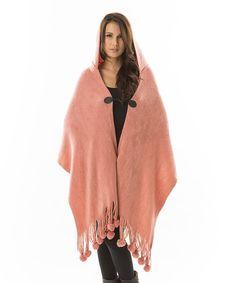 Love this Aziza Rose Pom-Pom Fringe Hooded Wrap by Aziza on #zulily! #zulilyfinds