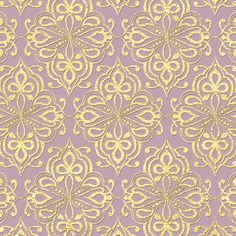 """Purple digital paper: """"LILAC & GOLD"""" with purple and gold background, purple scrapbook paper, gold patterns, gold damask for scrapbooking"""