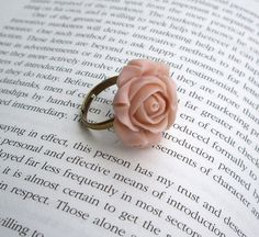 Flower ring rose statement victorian light pink by JPwithLove, $12.00