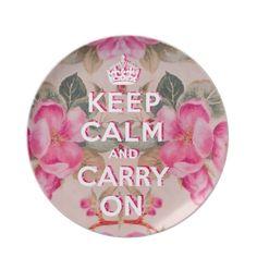 Girly keep calm..Vintage pink elegant floral roses Dinner Plates