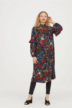 Calf-length dress - Black/floral - Ladies   H&M US 1 - $30