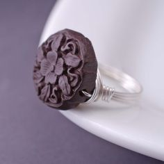 Wood Ring, Brown Wood Jewelry, Sterling SIlver Wire Wrapped Ring, Cocktail Ring, Chunky Ring. $24.00, via Etsy.