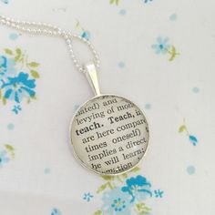 New to roseylittlethings on Etsy: Teach word necklace teacher pendant one of a kind vintage dictionary word necklace gift for a teacher teacher keepsake necklace (20.00 USD)