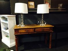 Two matching glass-ball side lights with cream shades - look terrific together or apart and nice side table too.