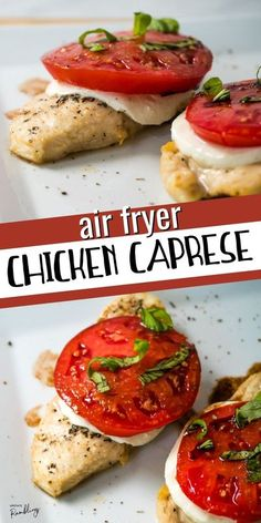 Tasty air fryer chicken caprese is a delicious way to make chicken breast! Chicken cooks quickly in the air fryer and is topped off with fresh mozzarella cheese and red, ripe tomatoes for a delicious, healthy and easy dinner, ready in about 20 minutes. Side Dish Recipes, Meat Recipes, Cooking Recipes, Healthy Recipes, Healthy Food, Ways To Cook Chicken, Easy Chicken Dinner Recipes, Chicken Ideas, Easy Family Meals