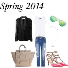 """Spring 2014 Day to Evening"" by marielle80 on Polyvore Rag & Bone The Pocket Slub T-shirt Blue Ripped Patchwork Cuffed Boyfriend Jeans Valentino Rockstud Kitten-Heel Pumps Michael Michael Kors Sequined Tuxedo Blazer Celine Drummed Leather Mini Luggage Dume Ray-Ban Large Aviator Metal Circe Anchor Necklace"