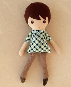 Fabric Doll Rag Doll Brown Haired Boy Doll in Navy door rovingovine