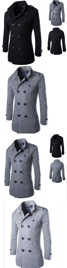 Men Coats And Jackets: New Fashion Men S Wool Coat Winter Trench Coat Outwear Overcoat Long Jacket -> BUY IT NOW ONLY: $31.34 on eBay!