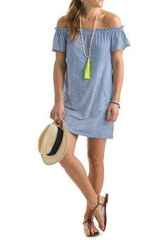 f4c494ba17f Stripe Off Shoulder Slub Knit Dress Spring Clothes