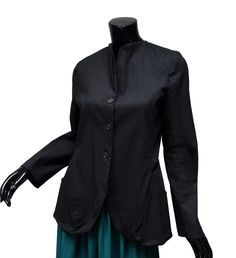 Liliith Black Long Jacket Sz L Pleated Pockets Collar Stretch Linen Blend #Lilith #BasicJacket #BlackJacket Fabulous little jacket from Lilith with great lines!